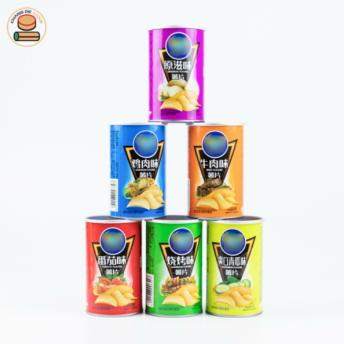 Round food custom printed paper can packing potato chips paper tube