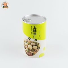 Food-grade paper can Custom design paper tube packing for walnut with aluminium pull ring lid