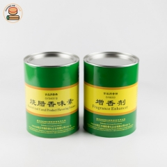 Eco friendly recyclable paper tube packaging paper cans for Flavor Enhancer with plastic lid