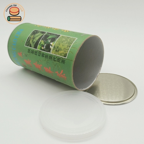 recycle cardboard round tube tea packaging kraft paper tube packaging with green tea round paper tube box