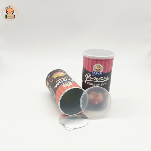 Custom AirTight Paper Snack Paper Cans Apple Chips Paper Tube Packaging