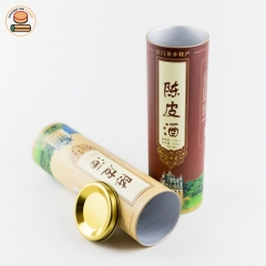Custom Logo Luxury Whiskey Wine Bottle Packaging Cardboard Cylinder Gift Empty Paper Boxes With Metal Lid