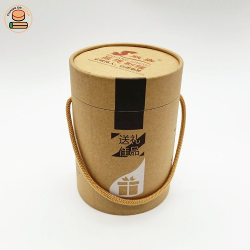 Manufactory Wholesale Food Grade Recycled Round Core Kraft Paper Tube Can With String Handle For Tea