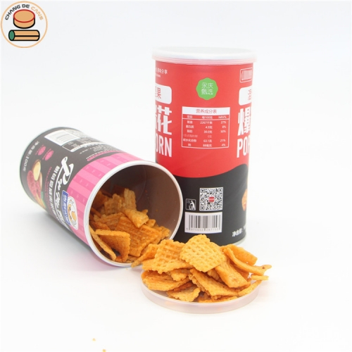 custom printing logo FDA paper can packing for potato chips shrimp chips broad beans peas popcorn packaging