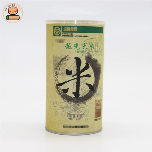Food grade Airtight paper tube for rice food packaging with easy pull ring lid cylinder paper can