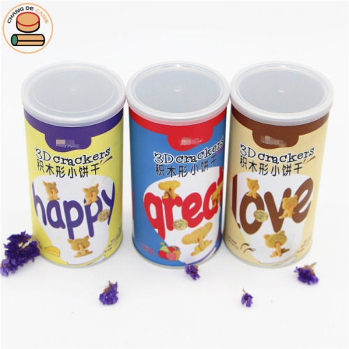 Food grade packaging tubes with easy ring pull lid for crackers cookies chocolate